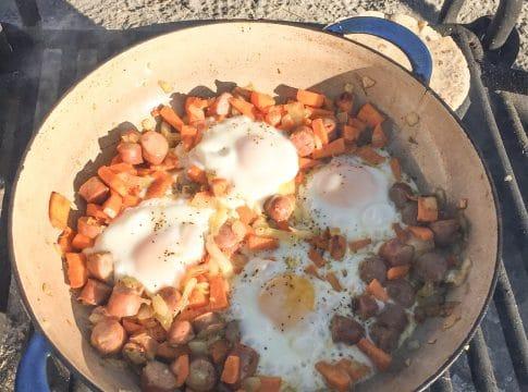 Easy, one-pan Sweet Potato Breakfast Hash Recipe   Easy #camping breakfast   scoutofmind.com